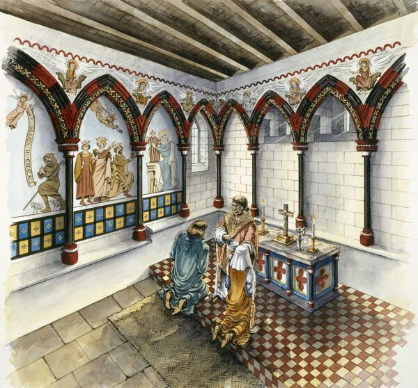 CLIFFORD'S TOWER, York, North Yorkshire. Interior view. The Chapel, late 14th century. Reconstruction drawing by Peter Dunn (English Heritage Graphics Team). clifford