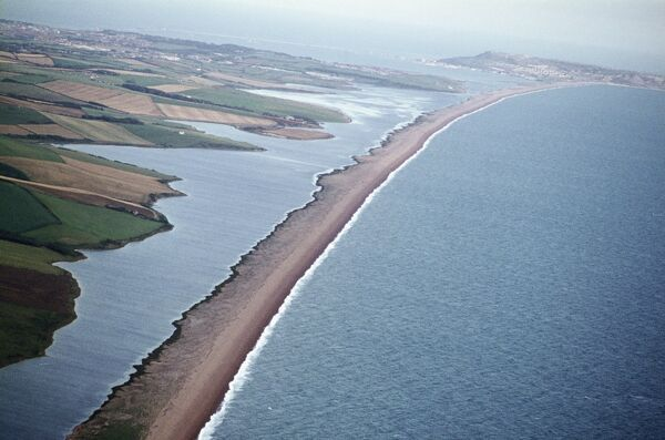 Chesil Beach, Dorset. The shingle barrier beach is a natural formation forming part of the Jurassic Coast World Heritage Site. Photographed in September 1970 by Jim Hancock