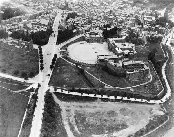 CHESTER CASTLE, Cheshire. Aerial view of Chester Castle. The forecourt complex at Chester Castle was entirely rebuilt between 1788 and 1822 by Thomas Harrison in the Neo-Classical style. A new prison was also constructed within the castle proper