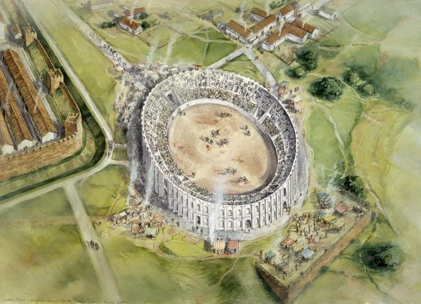 CHESTER ROMAN AMPHITHEATRE, Cheshire. Aerial view reconstruction drawing by Peter Dunn (English Heritage Graphics Team) of the amphitheatre in c.100 AD