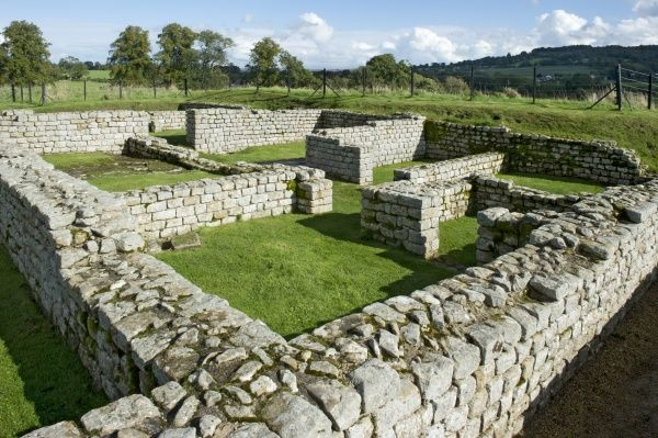 HADRIAN'S WALL: CHESTERS ROMAN FORT, Northumberland. View of the barracks showing room subdivisions
