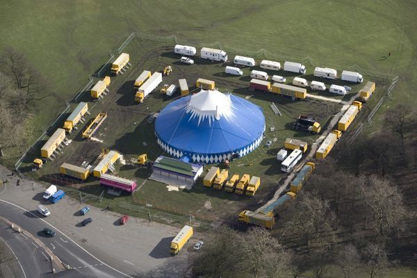 SEFTON PARK, Liverpool. Aerial view. The colourful big top of the Chinese State Circus. The circus has toured the UK since 1992 and presents a range of Chinese acrobatic, operatic and martial arts to a western audience