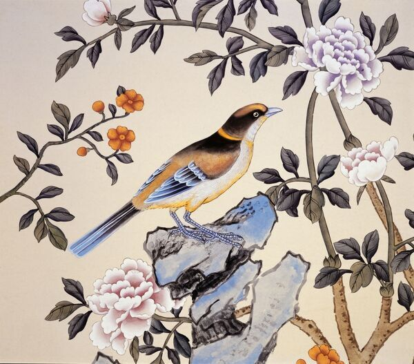 MARBLE HILL HOUSE, Twickenham, Richmond, Middlesex. Hand-painted Chinoiserie wallpaper. Detail of bird and foliage