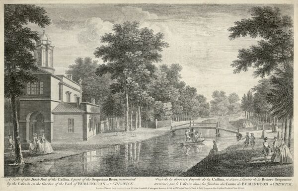 "CHISWICK HOUSE, Burlington Lane, Hounslow, London. ""A view of the back part of the Cassina and part of the Serpentine River terminated by the cascade in the garden of the Earl of Burlington at Chiswick."" Caption also in French. The Cassina"