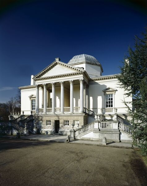 CHISWICK HOUSE, London. View of the Palladian style South front from the South East