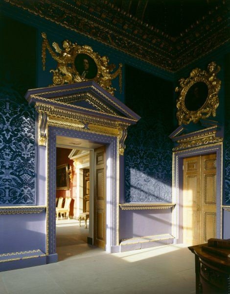 CHISWICK HOUSE, London. Interior view of the Blue Velvet Room showing doorway through to the Red Velvet Room