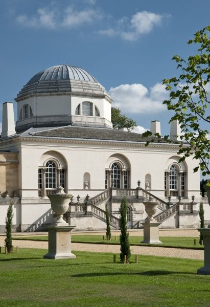 CHISWICK HOUSE, London. View of the North facade with urns lining path