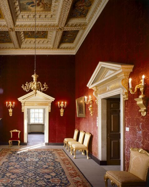 CHISWICK HOUSE, London. Interior view of the Red Velvet Room