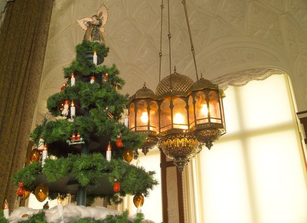 OSBORNE HOUSE, Isle of Wight. Interior view. Detail of lantern and Christmas tree in the Durbar Room. Some items shown maybe on loan from the Royal Collection