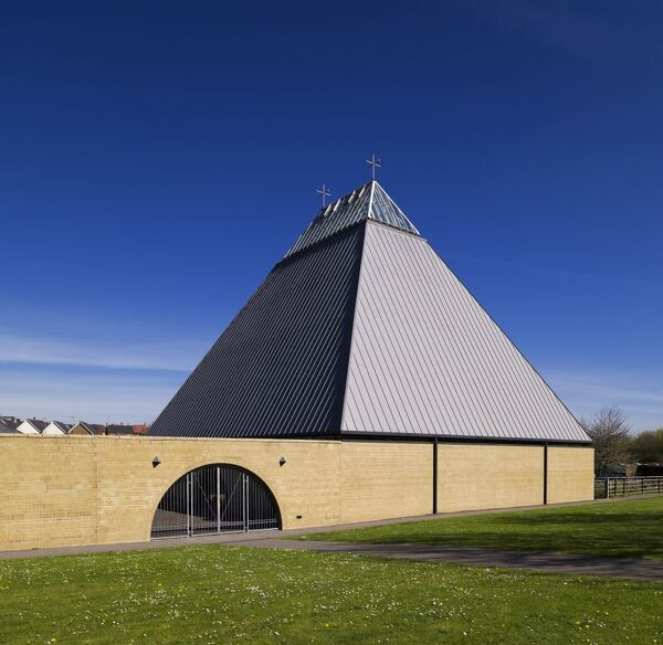 Basingstoke, Hampshire. General view of church of St Bede, Popley Way, designed by Robert Maguire with JKBS Architects, 2005-7
