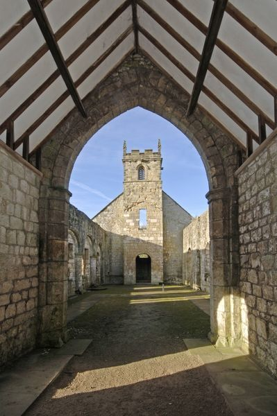 WHARRAM PERCY MEDIEVAL VILLAGE, North Yorkshire. Interior view of St Martin's church taken from the East