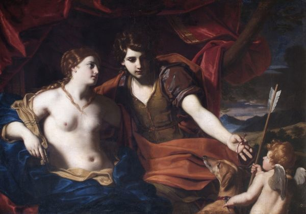 "APSLEY HOUSE, London. ""Venus and Adonis"" by Carlo CIGNANI (1628-1719). From Spanish Royal Collection. Captured by the Duke of Wellington at Vitoria 1813. WM 1612-1948"