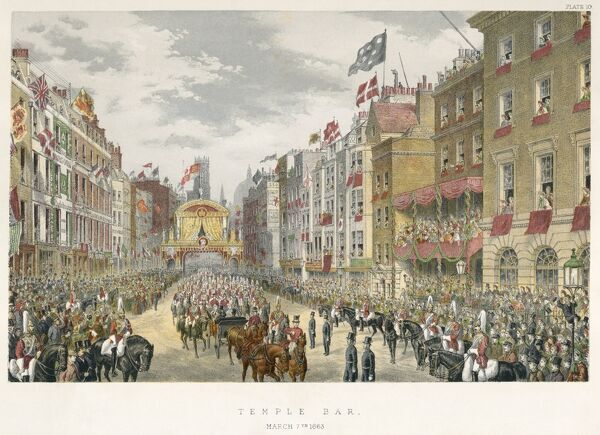 MAYSON BEETON COLLECTION. Strand, London 1863. A procession leading from Temple Bar. The City's welcome to Princess Alexandra, the bride of the Prince of Wales (later Edward VII). Coloured engraving from the Mayson Beeton Collection