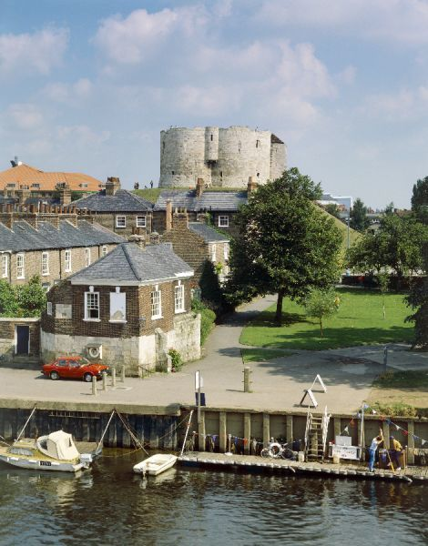 CLIFFORD'S TOWER, York, North Yorkshire. View from the river. clifford