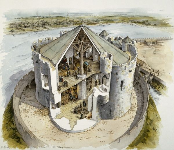 CLIFFORD'S TOWER, York. Mid 14th century reconstruction drawing by Peter DUNN (English Heritage Graphics Team)