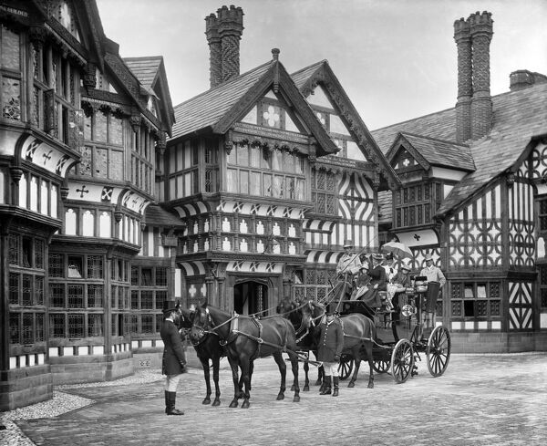 BIDSTON COURT, Birkenhead (Architects - Grayson and Ould). A coach and four horses in front of the house. Photographed by Bedford Lemere in July 1894 for Reverend Hudson