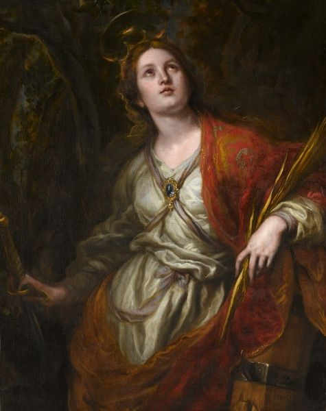 "APSLEY HOUSE, London. ""St Catherine of Alexandria"" by Claudio COELLO (1642-93). WM 1578-1948. After treatment"