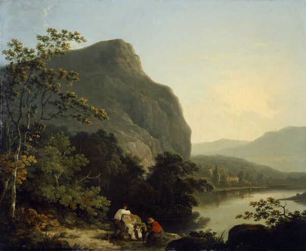 KENWOOD HOUSE, THE IVEAGH BEQUEST, London. 'Classical Landscape with a Lake' 1788 by Richard CORBOULD (1757-1831)