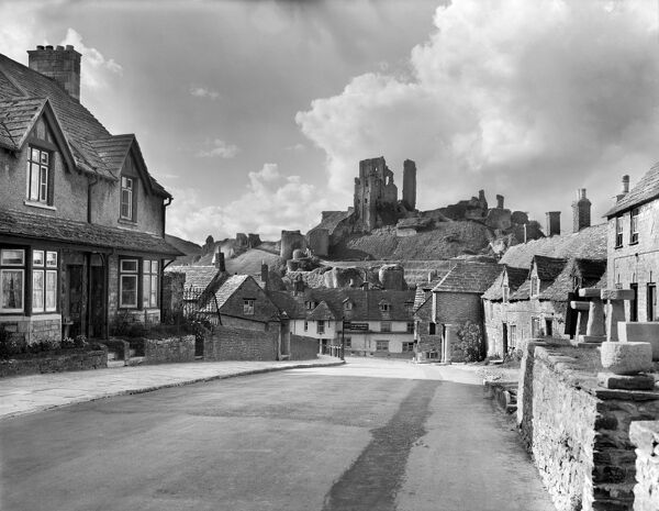 CORFE CASTLE, Dorset. A view of the castle from the village. 1950