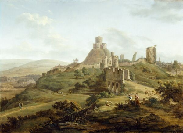 "LAUNCESTON CASTLE, Cornwall. ""View of Launceston Castle from the South"" c1770 by Hendrik Frans De Cort (1742-1810)"