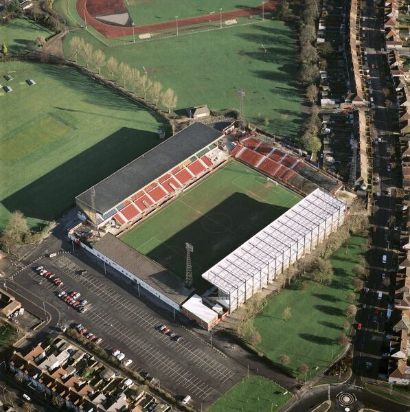 COUNTY GROUND, Swindon. Aerial view of the home of Swindon Town Football Club. Photographed in 1995, a turbulent time in the Robins history. Aerofilms Collection (see Links)