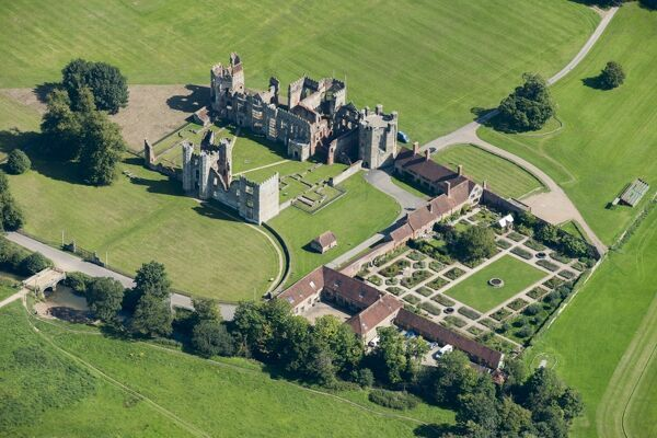 Cowdray House, Cowdray Park, West Sussex. The great Tudor mansion burned down in 1793, but the ruins have been preserved and are Listed