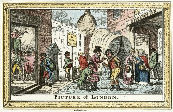 MAYSON BEETON COLLECTION. Picture of London, 1820 by George Cruikshank. Satirical coloured engraving from the Mayson Beeton Collection