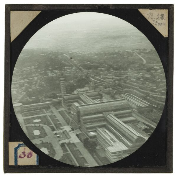 Crystal Palace, Sydenham, Greater London, taken from 2000 feet. Tethered balloon flights were regularly undertaken at Crystal Palace, however this image is believed to be the earliest known surviving aerial photograph of the building itself