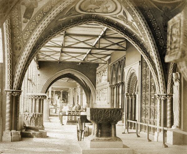 CRYSTAL PALACE, Sydenham, London. The Medieval Court, showing examples of Norman and Gothic architecture in the Garden Gallery of the Fine Art Courts. Photographed in 1859 by Philip Henry Delamotte