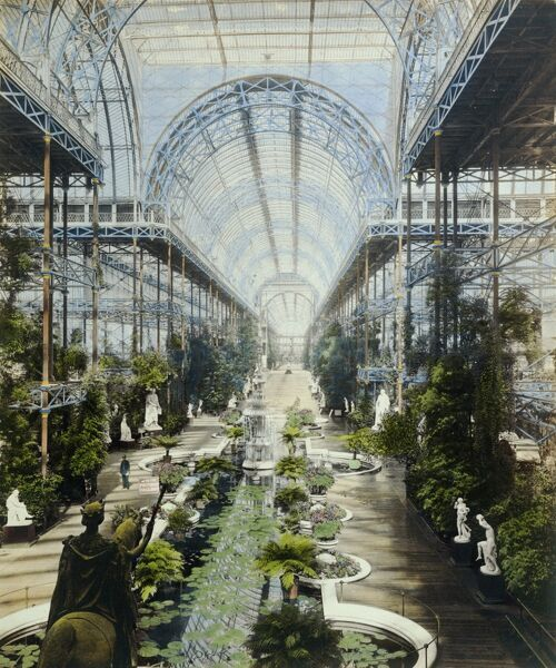CRYSTAL PALACE, Sydenham, London. The interior of the vast nave of the Crystal Palace, which was over 100 feet high and about three quarters of a mile long