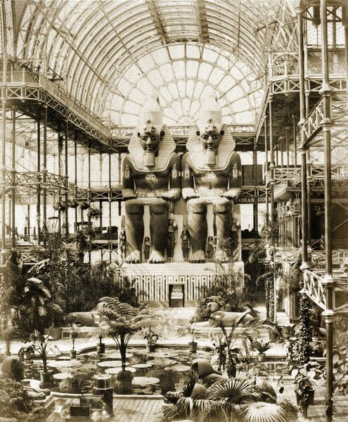 CRYSTAL PALACE, Sydenham, London. A circa 1859 view of the giant figures which dominated the tropical transept at the north end of the Crystal Palace