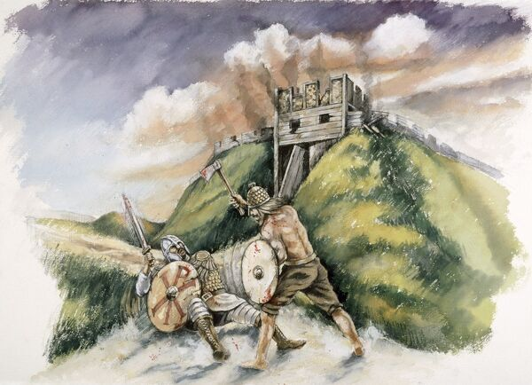 OLD SARUM, Wiltshire. Cynric of Wessex fighting the Britons at Searobyrg (Old Sarum) in 552 AD. Reconstruction drawing by Peter Dunn, English Heritage Graphics Team