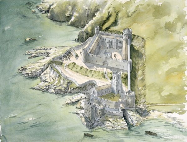 DARTMOUTH CASTLE, Devon. Aerial view reconstruction drawing of the castle c1550 by Peter Dunn (English Heritage Graphics Team)