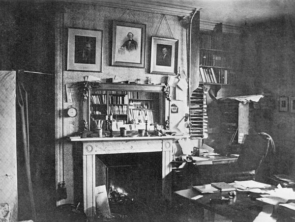 DOWN HOUSE, Kent. Interior view of the The Old Study photographed by Leonard Darwin c1882