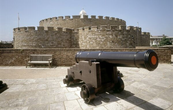 DEAL CASTLE, Kent. Cannon on the outer bastions with the keep beyond