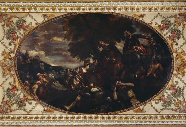 "CHISWICK HOUSE, London. Detail of the ceiling in the Gallery with the painting ""The Defence of Scutari"", copy after Paolo Veronese (c.1528-88)"