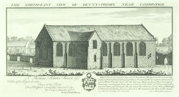 DENNY ABBEY, Cambridgeshire. 'The north east view of Denny Priory near Cambridge' by Samuel and Nathaniel Buck, 1730