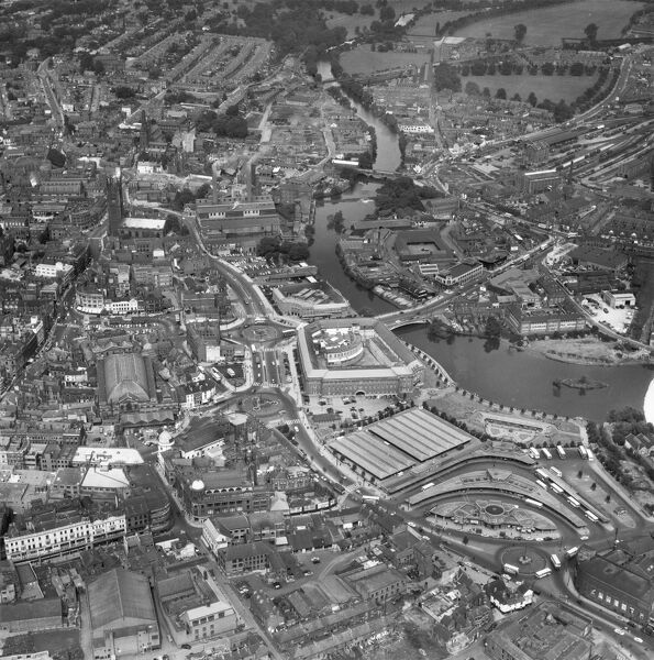 Derby City Centre. In the centre of the picture is the Derby Council House, completed in 1949, with the River Derwent to the right. Photographed in August 1961. Aerofilms Collection