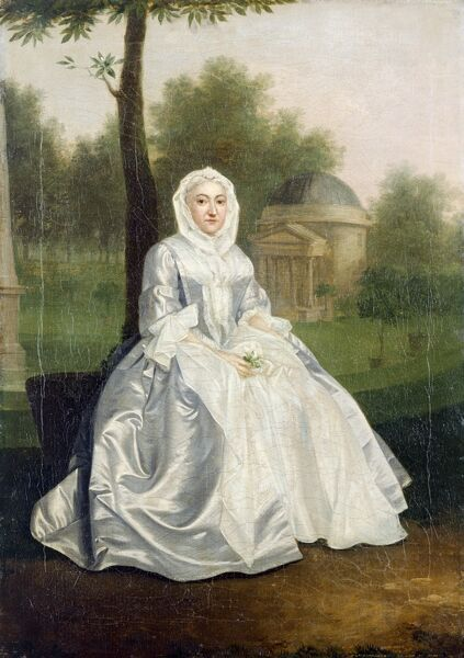 "CHISWICK HOUSE, London. "" Portrait of Lady Burlington in the Grounds of Chiswick House "" By Arthur DEVIS (1712-1787)"