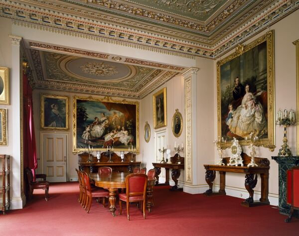 OSBORNE HOUSE, Isle of Wight. Interior view. The Dining Room. Some items shown maybe on loan from the Royal Collection