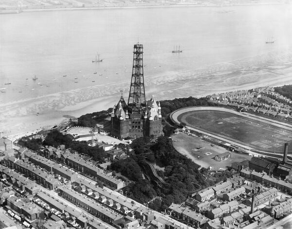 NEW BRIGHTON, Wallasey, Wirral, Merseyside. Aerial view of New Brighton Tower being removed. Constructed in 1896 as an observation tower, it was closed during the First World War. Due to corrosion it was deemed unsafe to reopen and it was dismantled