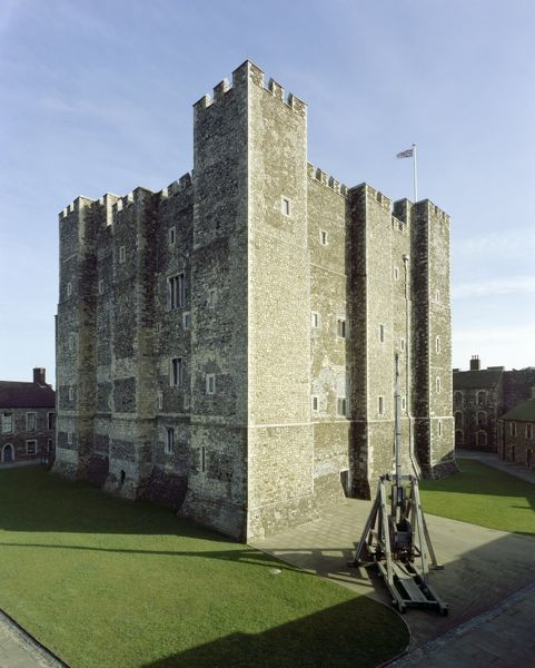 DOVER CASTLE, Kent. An exterior view of the keep built by Henry II during the late 12th century