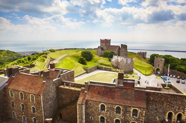 DOVER CASTLE, Kent. View from the Great Tower towards church and sea