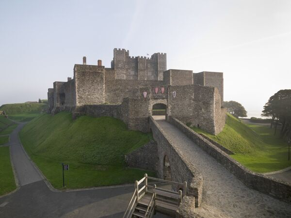 DOVER CASTLE, Kent. The Great Tower, Inner Bailey and North Barbican from the north west