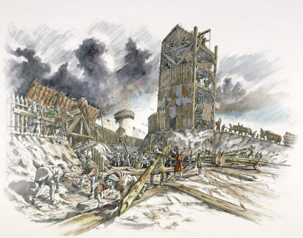 DOVER CASTLE, Kent. The siege of 1216. Reconstruction drawing by Peter Dunn, English Heritage Graphics Team, of a French siege tower and earth works