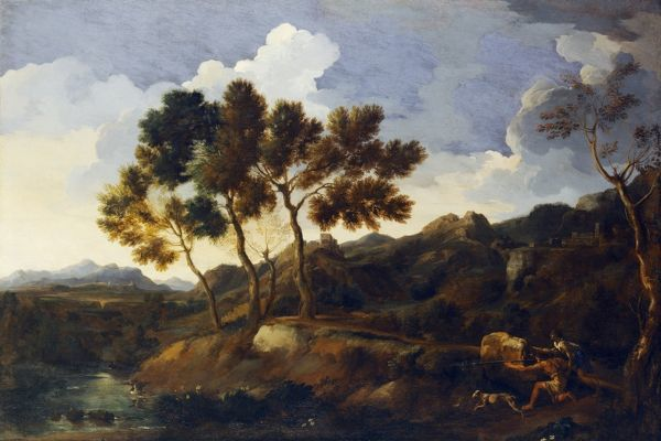 "KENWOOD HOUSE, THE IVEAGH BEQUEST, London. ""Landscape with Sportsmen"" c.1636-39 by Gaspard DUGHET (1615-75). IBK 1219"
