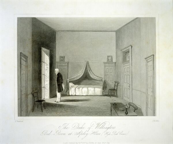 "APSLEY HOUSE, London. Engraving of ""The Duke of Wellington's Bedroom at Apsley House&quot"