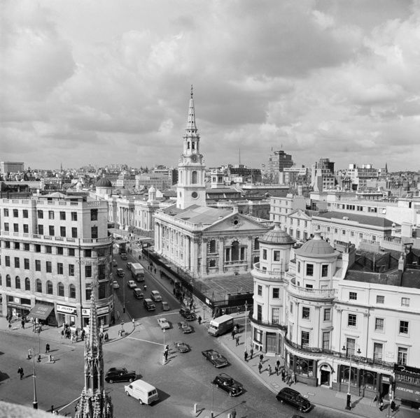 DUNCANNON STREET, Charing Cross, Westminster, London. Looking from the roof of the Charing Cross Hotel across the Strand and along Duncannon Street towards St Martin in the Fields Church. Photographed by John Gay. Date range: 1960-1972