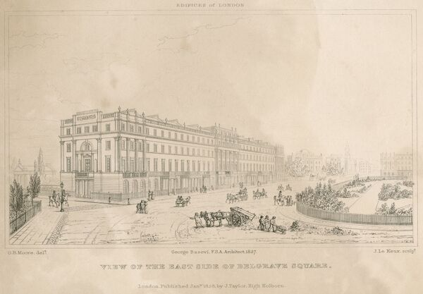 "MAYSON BEETON COLLECTION. ""View of the East Side of Belgrave Square"" 1827. Some degradation"