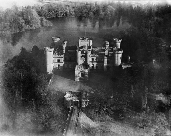 EASTNOR CASTLE, near Ledbury, Herefordshire. Aerial view of Eastnor Castle, built in 1812-20 by Robert Smirke to look like a medieval castle. Photographed in March 1921. Aerofilms Collection (see Links)